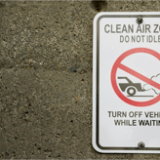 Clean Air Zone sign warns against idling cars