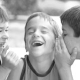 children talking and laughing