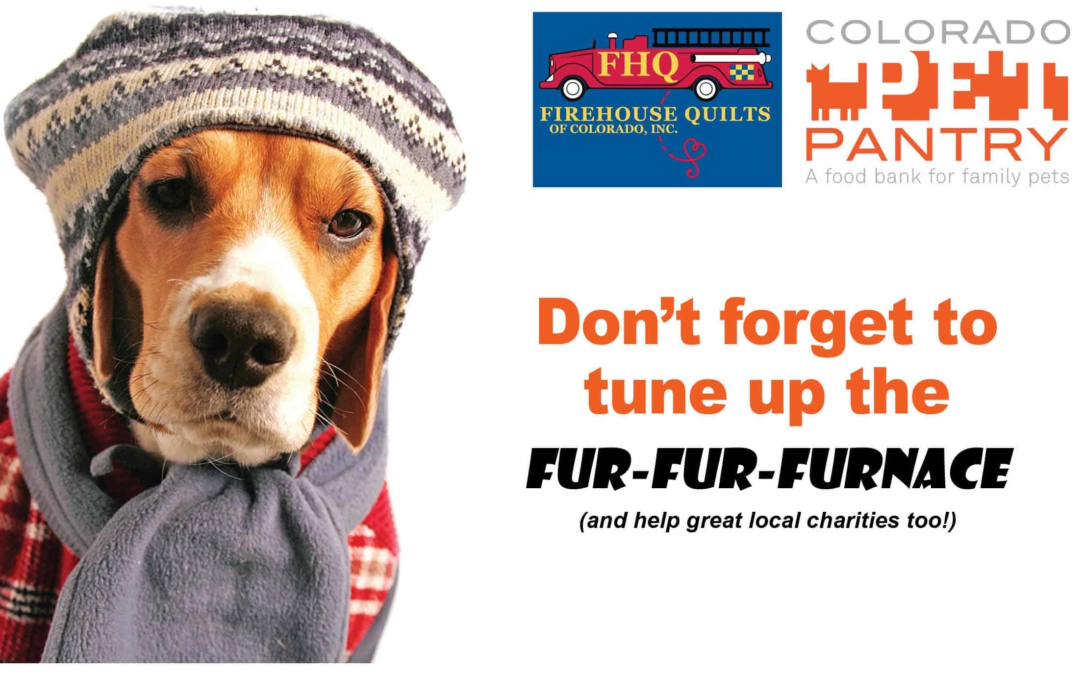 dog dressed up in winter outfit reminds readers to check their furnace